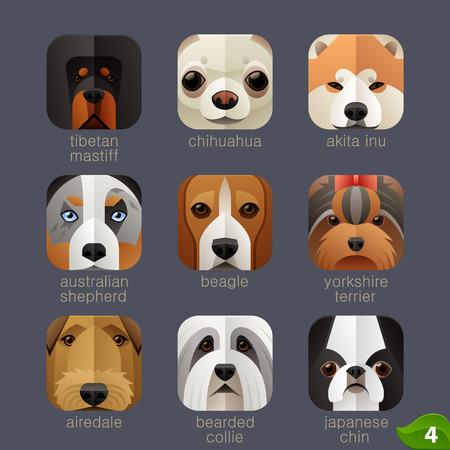 animaux zoo: visages des animaux pour les icônes d'application chiens set 3