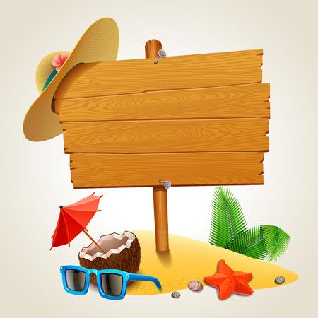 Signe de bois sur la plage Banque d'images - 36850916