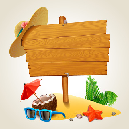 sunny beach: Wood sign in the beach Illustration