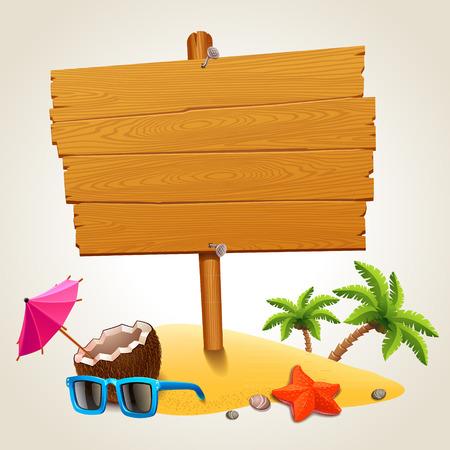 drewniane: Drewno podpisania w ikonę plaży Ilustracja
