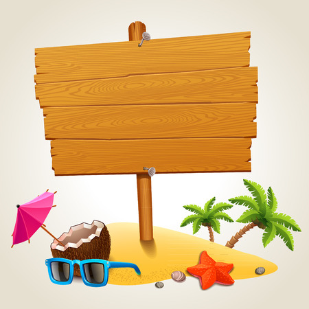 blank sign: Wood sign in the beach icon Illustration