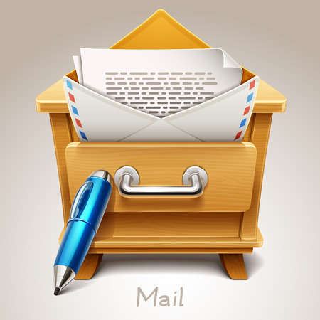closet communication: Wooden drawer illustration for mail icon