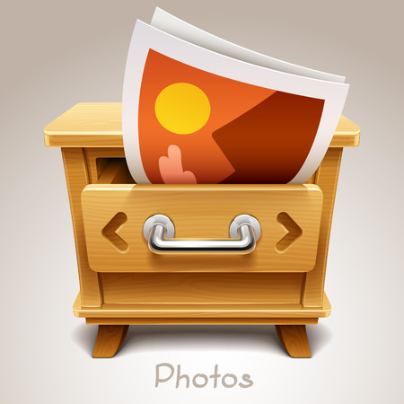 highboy: Wooden drawer illustration for photos icon
