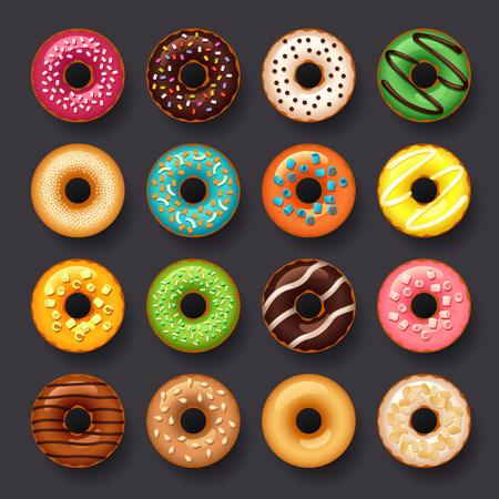 donut icon set 矢量图像