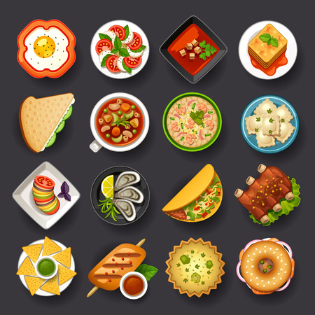 side dish: dishes icon set-2 Illustration