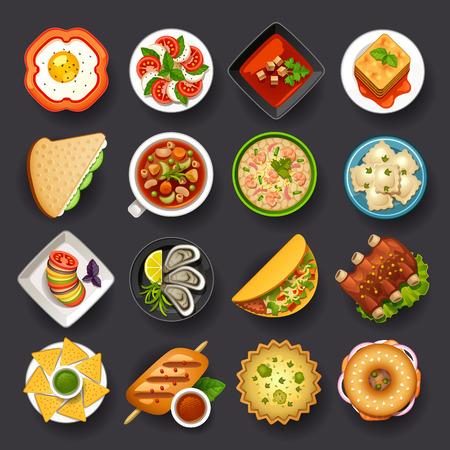 comida: platos conjunto de iconos-2 Vectores
