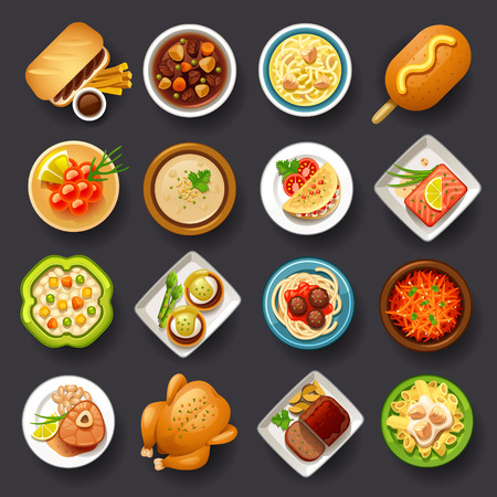 lunch meal: dishes icon set-3