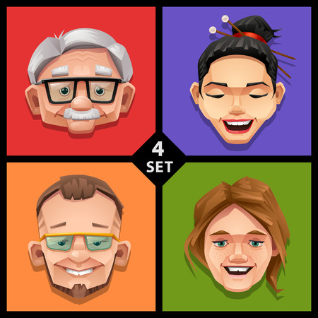 success man: Funny face illustration-set 4