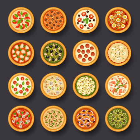 pizza icon set Vettoriali