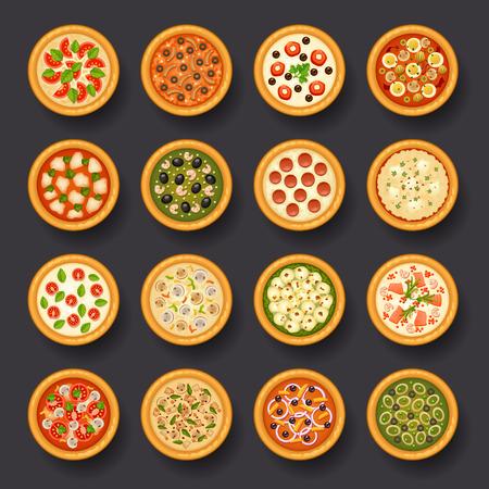 pizza ingredients: pizza icon set Illustration