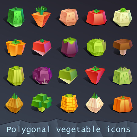 Polygonal vegetable icons Illustration