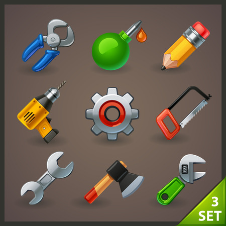 electric tools: tools icon set-3