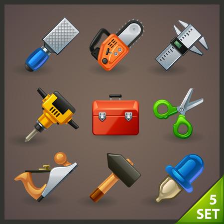 carpenter tools: tools icon set-5 Illustration