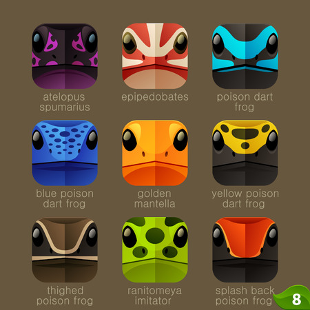poison dart frog: Animal faces for app icons-tree frogs set