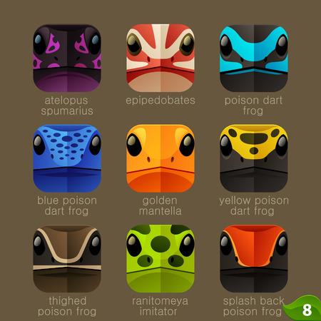 poison frog: Caras de animales para ranas de aplicaciones iconos de árboles establecidos