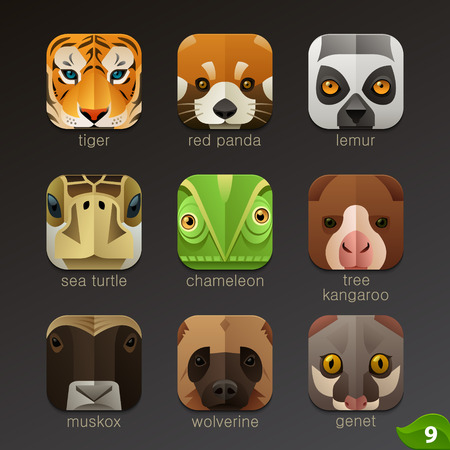 Animal faces for app icons-set 9 Çizim