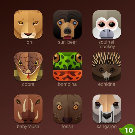 animales del zoologico: Enfrenta Animal para aplicaciones iconos-set 10