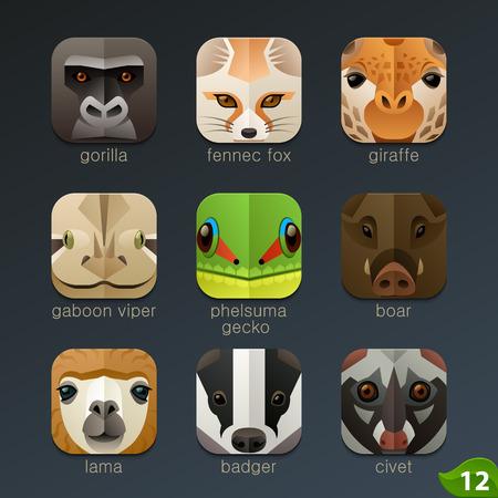 serpiente caricatura: Enfrenta Animal para aplicaciones iconos-set 12