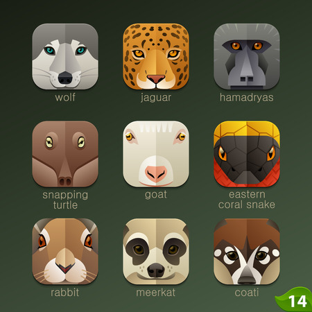 cartoon animal: Animal faces for app icons-set 14