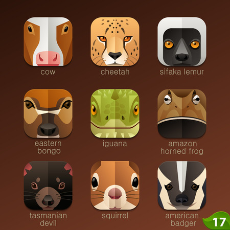 cartoon animal: Animal faces for app icons-set 17