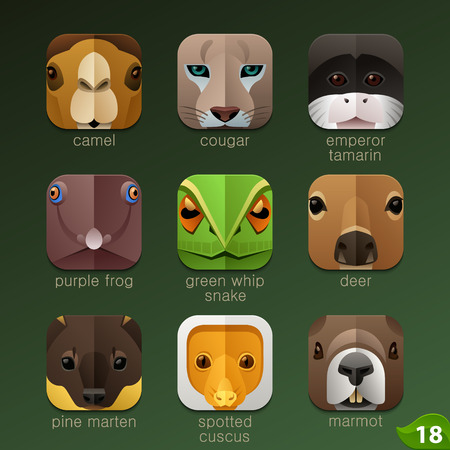 cartoon zoo: Animal faces for app icons-set 18