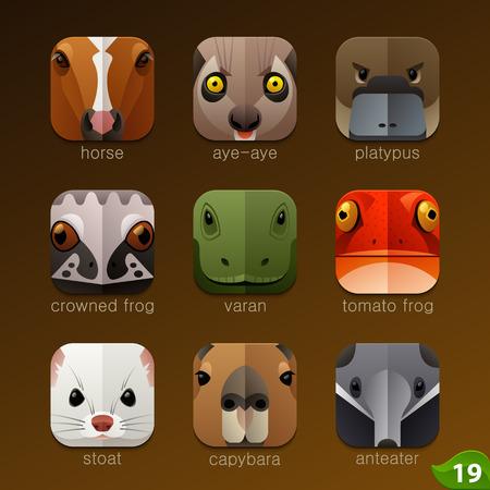 animaux zoo: Fait face � des animaux pour les ic�nes d'application 19-set