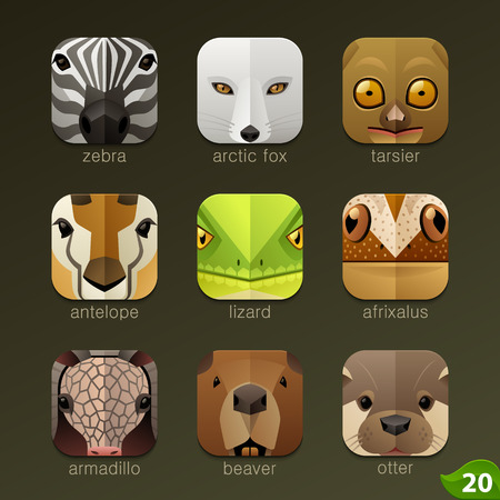 cartoon animal: Animal faces for app icons-set 20