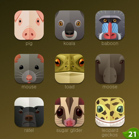 animal species: Animal faces for app icons-set 21 Illustration