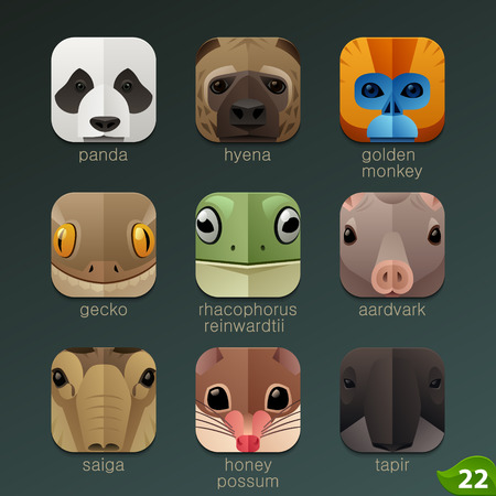 cartoon animal: Animal faces for app icons-set 22