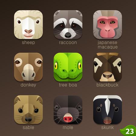 cartoon donkey: Animal faces for app icons-set 23