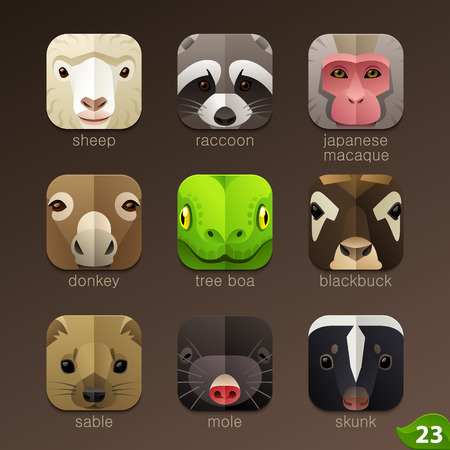 telefono caricatura: Enfrenta Animal para aplicaciones iconos-set 23