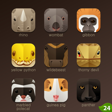 Animal faces for app icons-set 24 Vectores