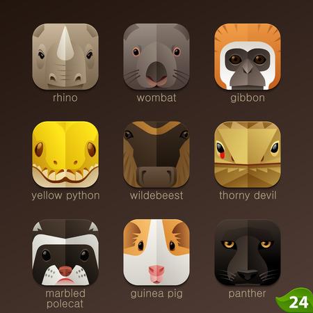 serpiente caricatura: Enfrenta Animal para aplicaciones iconos-set 24