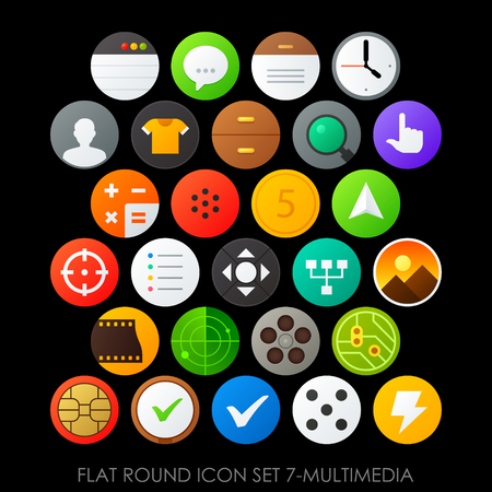 Flat round icon set 7-multimedia