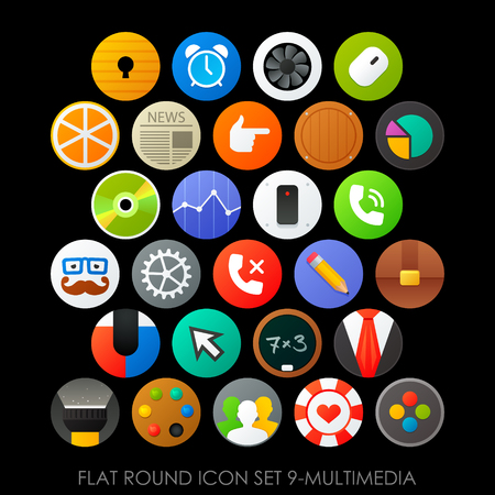 Flat round icon set 9-multimedia