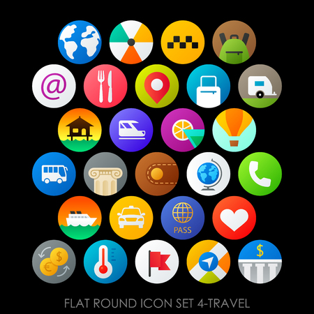 Flat round icon set 4-travel