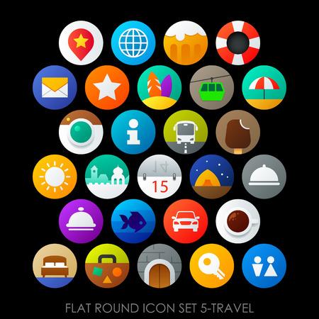web services: Flat round icon set 5-travel Illustration