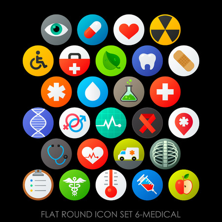healty lifestyle: Flat round icon set 6-medical Illustration