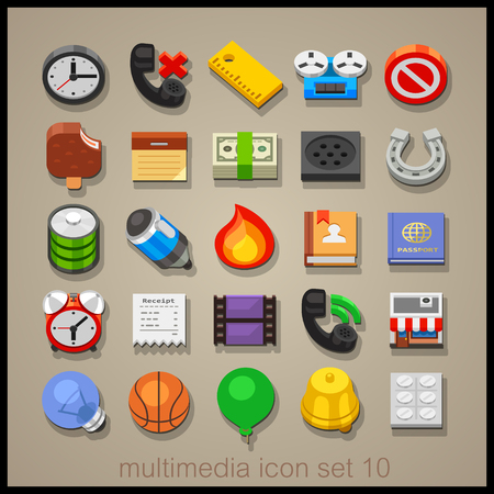 balon baloncesto: Multimedia icon set-10 Vectores