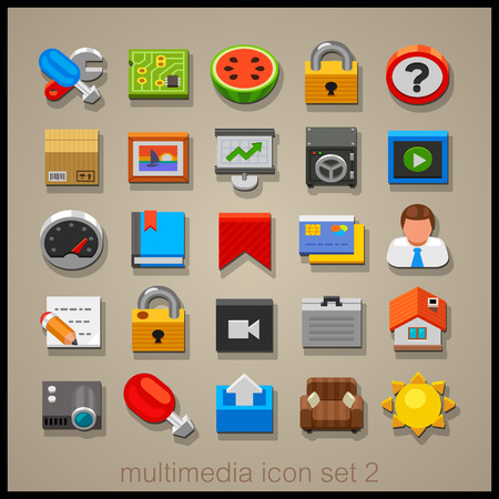 multimedia: Multimedia icon set-2 Illustration