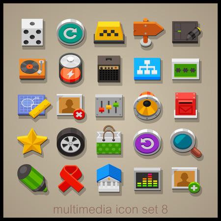 multimedia: Multimedia icon set-8 Illustration