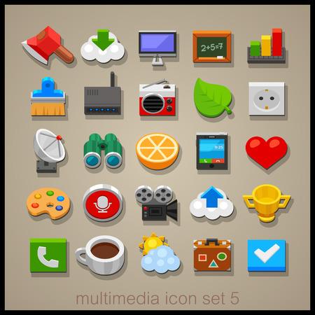 multimedia: Multimedia icon set-5 Illustration