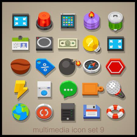 multimedia: Multimedia icon set-9 Illustration