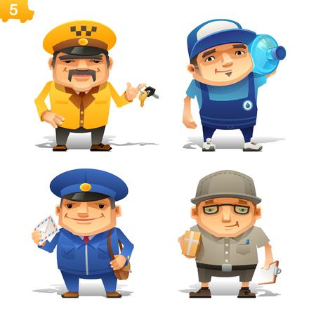 caricaturas de personas: Profesiones de servicio de entrega establecidos Vectores