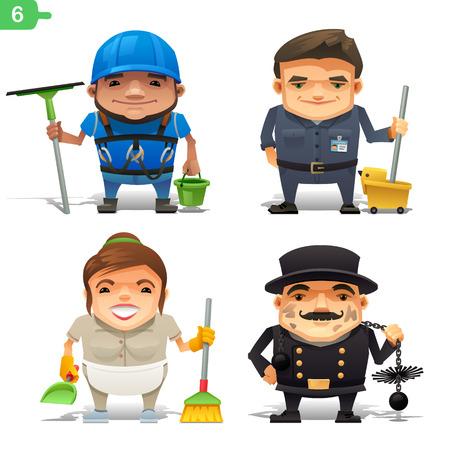 Housekeeping professions set 일러스트