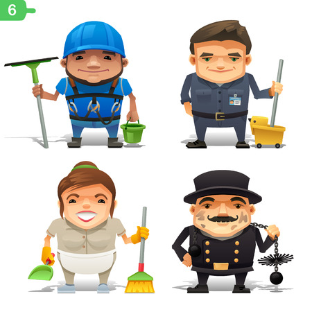 Housekeeping professions set Illustration