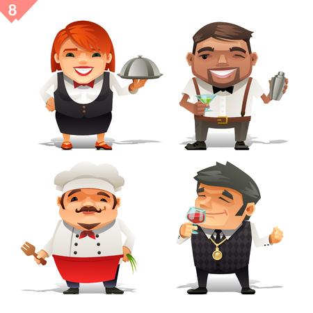 Restaurant beroepen ingesteld Stock Illustratie