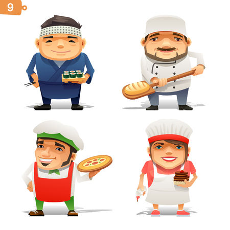 male female: Cooking professions set