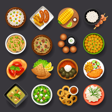 plato de comida: platos conjunto de iconos-4