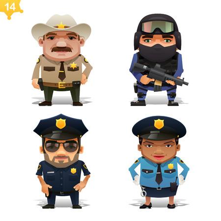 policia caricatura: La policía estableció profesiones Vectores